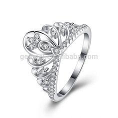 Wholesale Women Fashion 925 Silver CZ Princess Crown Tiara Ring Wedding Band From m.alibaba.com