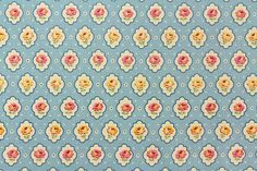 Yuwa Vintage Inspired Floral Print  Blue  Cotton Fabric AT116529B
