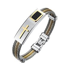 Bracelet for Men Fashion Jewelry Stainless Steel Cross Bangle, Three-Line Wire Plating Gold and Silvery  <b>Main Material:</b> Stainless Steel;Main Color:plating Silver+Gold,Nickel free, allergen free  <b>Within the perimeter:</b> 7.3in; <b>Width:</b> 0.47in; <b>Weight:</b> 1.2oz  High quality stainless steel,Polished Finish,heat resistance and corrosion resistance, nonfading, non-deformable  Perfect gifts for Boyfriend's birthday, Graduation,Bachelor, party, Wedding, Anniversary, Chri...