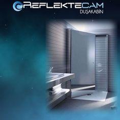 Flat duş teknesi üzeri füme reflektecam duş kabini