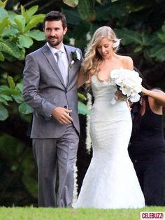 May 31, 2012: Reality TV star Brandon Jenner married Leah Felder, whose father Don is in The Eagles, on the beach at the St. Regis Princeville Resort on the Hawaiian island of Kauai. Attended by a colourful wedding party and famous relatives on both sides (his dad Bruce married Kris Kardashian), with many of the women sporting flowers tropical in their hair. A reception followed for guests on the resort's property.