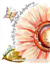 unique Watercolor tattoo - Peach Flower Strength Print (Philippians 4:13)