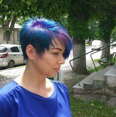 Pixie Haircut  Pravana Color Blue Purple Braid