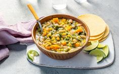 Mar 2020 - The beans and butternut squash in this Sante Fe-style chili up the healthy (and taste) factor. Bean Recipes, Soup Recipes, Whole Food Recipes, Vegetarian Recipes, Healthy Recipes, Healthy Foods, Chili Recipes, Vegan Soups, Recipes