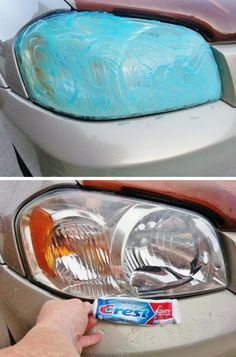 Headlight Restoration via Crest toothpaste! Yesterday that head light was covered with green tarnished film. I applied toothpaste after sun went down and rubbed it in this morning for 5 minutes. Total process took less than 8 minutes for both headlig