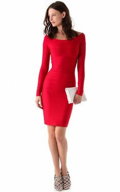 Round Neck Herve Leger Long Sleeves Red Bandage Dress