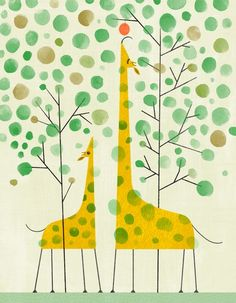We love giraffes! This would be a great family project... parents paint the giraffes and tree branches and kids make the dots with their finger prints.