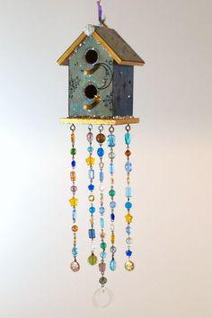 beaded garden decorations | ... Birdhouse Suncatcher Beaded Bohemian Boho Outdoor Decor Garden Decor