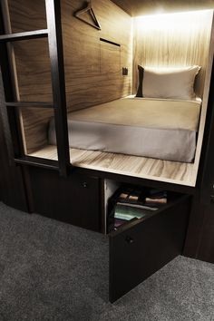 The Pod Boutique Capsule Hotel - Singapore. I could see this in a loft apartment. See more guest design ideas here: www.pinterest.com/homedsgnideas/