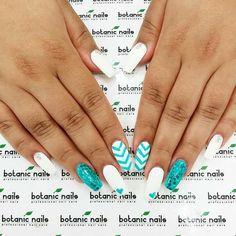 White & Blue Glitter by Botanic Nails