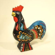 Swedish Old Dala Black Rooster Hard to Find Color Hand Paint Carved Wood Sweden