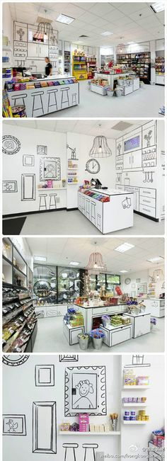 Shop interior with sketches as visual element Visual Merchandising, Retail Interior, Interior And Exterior, Interior Design, Display Design, Booth Design, Cafe Design, Store Design, Kiosk Design