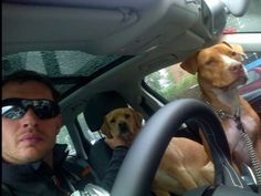Tom & his 2 co-pilots, Woody & Cass go for a drive... I'm surprised Woody isn't the 1 driving given all he accomplished in his short but Amazing Life!!!