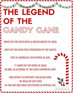 Legend of the Candy Cane - Fun Facts Free Printable - Christ Centered Christmas Traditions Christmas Fun Facts, Christmas Trivia, Christmas Poems, Christmas Love, Christmas Activities, Christmas Printables, Christmas Candy, Christmas Traditions, All Things Christmas