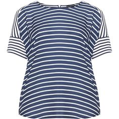 Samoon Dark-Blue / White Plus Size Contrasting striped top ($50) ❤ liked on Polyvore featuring plus size women's fashion, plus size clothing, plus size tops, plus size, woven top, women's plus size tops, zipper top, stretch top and plus size short sleeve tops