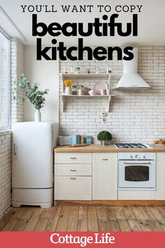 Get kitchen inspiration from these 15 beautiful rooms you'll want to copy. #kitchenideas #kitchenremodel #kitchen #farmhousekitchen #modernkitchen #interiordesign #CottageLife Quirky Kitchen, Galley Style Kitchen, Country Kitchen, Kitchen Inspiration, Kitchen Ideas, Formal Dining Tables, Modern Cottage, Cottage Design, Wood Beams