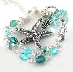 Starfish Necklace Aquamarine Crystal Necklace by DorotaJewelry, $39.00