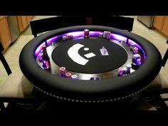 Custom 6 person poker table lights in action. Poker Table Diy, Poker Table Plans, Custom Poker Tables, Diy Table, Casino Royale Theme, Casino Theme Parties, Casino Party, Casino Games, Casino Night