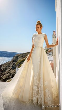 Eva Lendel 2017 bridal sleeveless jewel neckline heavily embellished bodice elegant fit and flare wedding dress a line overskirt full lace back sweep train (maya) mv #wedding #bridal #weddingdress
