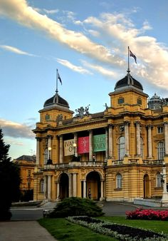 The Croatian National Theatre is the jewel of Zagreb's city centre. Surrounded by a beautiful square, fountains and architecture, it is a great place to get to know the Croatian culture. Shows, operas, and balles are favourite among the Croats. Zagreb Croatia, National Theatre, Getting To Know, Great Places, Jewel, Opera, Centre, Mansions, Architecture