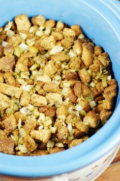 Stuffing in the slow cooker? You bet! This slow cooker stuffing is moist, flavorful, and easy.