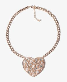Pearlescent Heart Chain Necklace | FOREVER 21 - 1021117448
