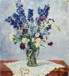 Delphinium and Rose - Pyotr Konchalovsky