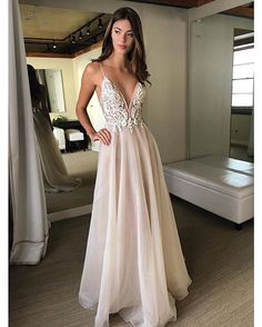 Sexy V-Neck Backless Beach Wedding Dress with Straps Beads Lace Applique A-line Hippie Country Bridal Wedding Dresses 2018 Berta Wedding Dresses With Straps, Stunning Wedding Dresses, Wedding Dresses 2018, Bridal Dresses, Dresses Uk, Lace Wedding, Matric Dance Dresses, Inexpensive Prom Dresses, Moda Fashion