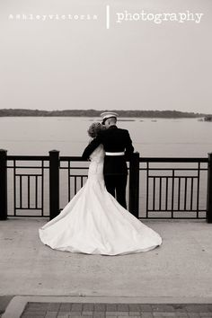 Nostalgic Bride & Groom | Black & White Waterfront Bridal Portrait…