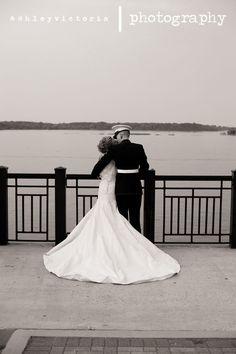 Nostalgic Bride & Groom | Black & White Waterfront Bridal Portrait…