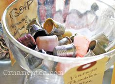 """vintage thimbles - jar full of """"kisses"""" signed/initials at baby shower. Peter pan room"""