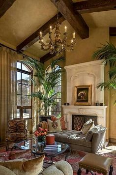 Home Interior Design What about an offwhite for the fireplace?Home Interior Design What about an offwhite for the fireplace? Home Living Room, Living Room Designs, Living Room Decor, Tuscan Living Rooms, Tuscan Bedroom, Tuscan Design, Tuscan Style, British Colonial Style, Tuscan House