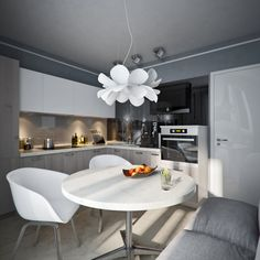 Build Dreams In Small Apartment Interior Decorating: round shaped marble dining table on small apartment open plan kitchen and living space
