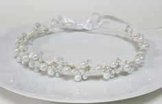 White Bridal Pearls Crown,Bridal Tiara,White Pearls Headpiece,Pearls and Crystals Hair Accessories,Wedding Headband,Bridal Crown by CyShell. by CyShell on Etsy