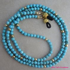 Gold and Turquoise Magnesite Eyeglass Chain Holder Beaded for Reading Glasses Glass Necklace, Beaded Necklace, Beaded Bracelets, Harry Potter Jewelry, Beaded Jewelry Designs, Eyeglass Holder, Stone Bracelet, Eyeglasses, Band