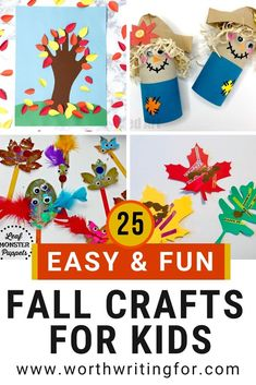 Fall crafts for kids! 25 different fall craft ideas for kids to make at home or at preschool. Autumn crafts for toddlers, preschoolers, and even up through tweens. 25 fun autumn crafts for your kids. Check them out! #fallcrafts #fallcraftsforkids #autumncrafts #kidscrafts #kidsactivities #parenting Fall Crafts For Toddlers, Easy Fall Crafts, Autumn Activities For Kids, Rainy Day Activities, Crafts For Kids To Make, Toddler Crafts, Craft Activities, Preschool Crafts, Easter Crafts