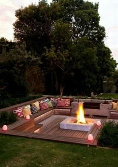 These fire pit ideas and designs will transform your backyard. Check out this list propane fire pit, gas fire pit, fire pit table and lowes fire pit of ways to update your outdoor fire pit ! Find 30 inspiring diy fire pit design ideas in this article. Outside Living, Outdoor Living, Outdoor Life, Backyard Seating, Outdoor Seating, Deck Seating, Cozy Backyard, Garden Seating Areas, Cool Backyard Ideas