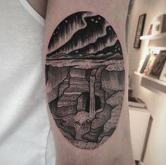 Iceland landscape tattoo by Suflanda