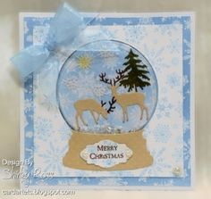 handmade Christmas card ... die cut snow globe with golden die cut deer ... Impression Obsession dies ... delightful!