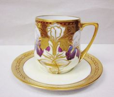 Vintage Art Nouveau Rosenthal Bavaria Dontello Gilt Handpainted Iris Cup Saucer