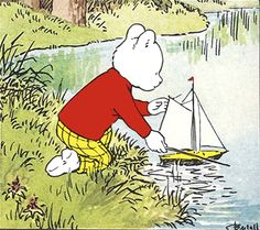 Rupert Bear and the pond yacht