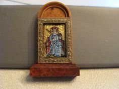 Miniature Religious Painting Icon Enamel Gilded Carved Frame 1:12 Scale