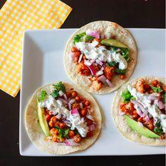 Roasted Cauliflower & Chickpea Tacos with Cilantro-Lime Crema