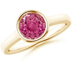 Classic Bezel Set Round Pink Sapphire Solitaire Ring ($2,819) ❤ liked on Polyvore featuring jewelry, rings, round ring, band rings, 14k ring, bezel set ring and bezel set jewelry
