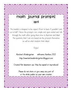 Here's a set of math journal prompts for April for K and 1.