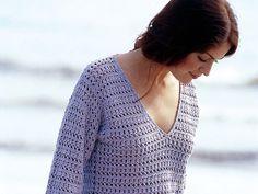 Gehäkelter Damen-Pullover mit V-Ausschnitt - kostenlose Häkelanleitung