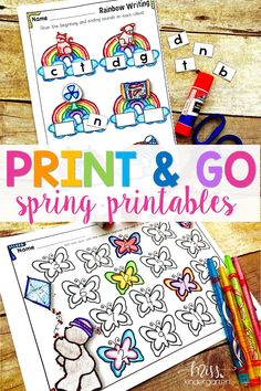 Hooray for kindergarten printables! Use these worksheets to practice spring sight words, writing and math! They're great for homeschool activities and are 100% fun!