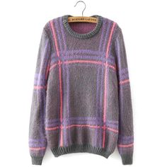 Yoins Checked Long Sleeve Swewater (330.580 IDR) ❤ liked on Polyvore featuring tops, grey, shirts & tops, long sleeve shirts, gray long sleeve shirt, gray shirt, checked shirt and grey top