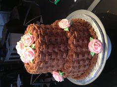 Simple elegant birthday cake. Wow! Check out the basket weave.