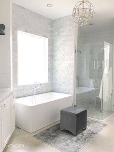 Bath Nook Tile. Bathtub nook is tiled in Bianco Carrara Marble. Bath Nook Tile. Bath Nook Tile. Bath Nook Tile #BathNook #BathNookTile Beautiful Homes of Instagram @organizecleandecorate